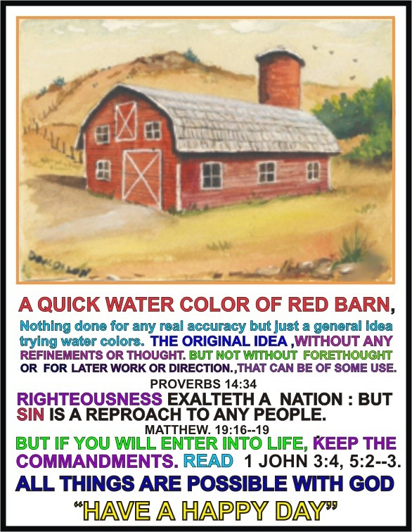 WATER COLOR, RED BARN